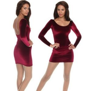 American apparel velvet u line body con dress
